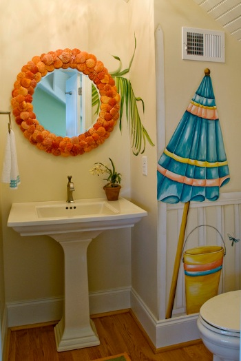 Beach themed bathroom decor