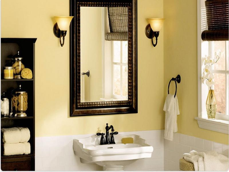 Pictures of small bathroom paint colors for Small bathroom no natural light