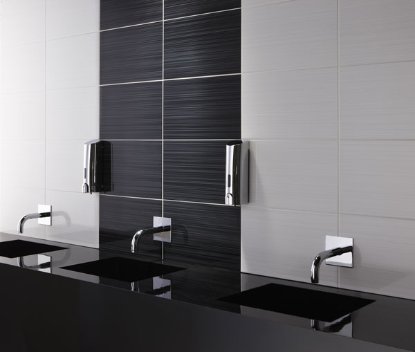 Black and white bathroom tile large and beautiful photos for Bathroom ideas black tiles