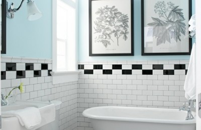Black and white bathroom floor tile