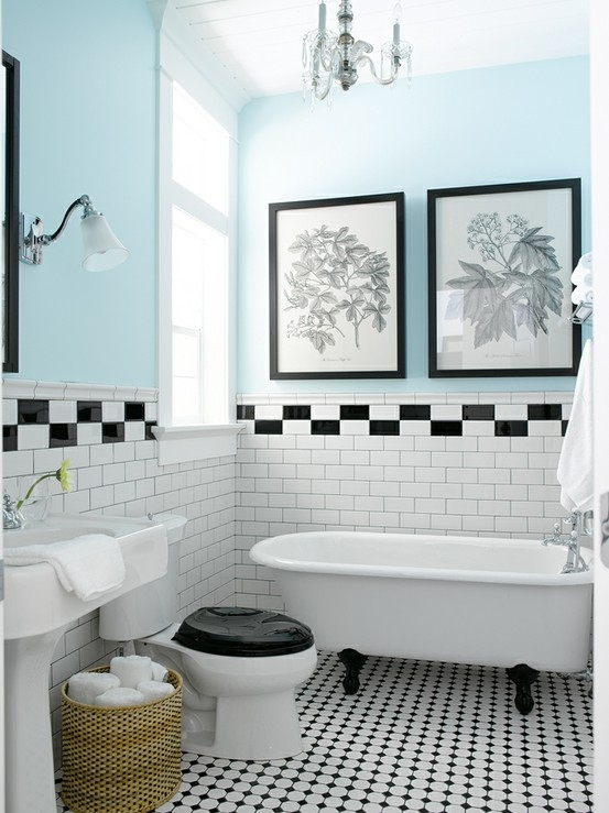 Black And White Bathroom Paint Ideas Part - 17: Black And White Bathroom Tile Black White Tile Bathroom