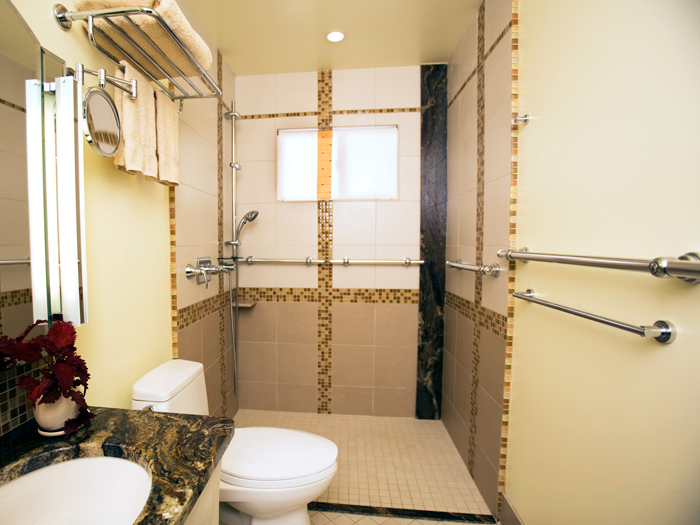 Handicapped accessible bathrooms large and beautiful for Handicapped accessible bathroom plans