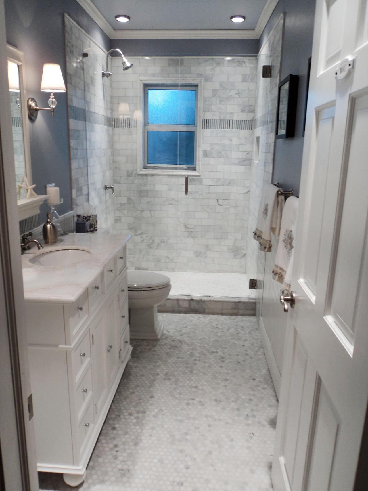 Дизайн узких ванных комнат