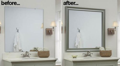 How To Build A Frame Around Bathroom Mirror Photo