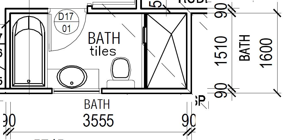 Narrow bathroom layout