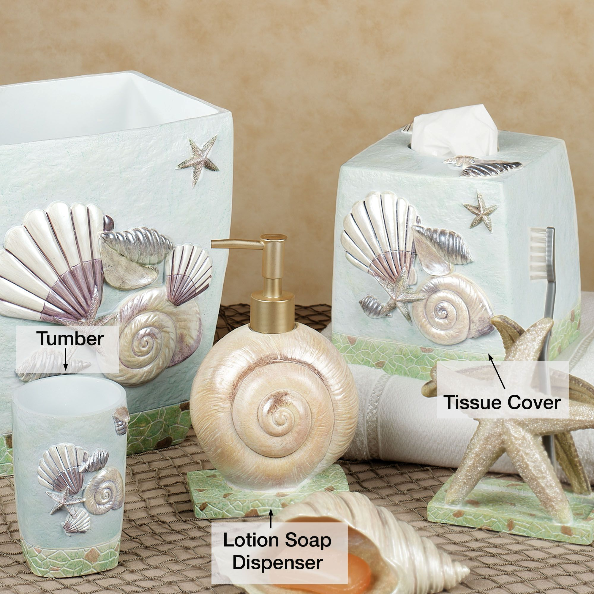 Seashell bathroom decor large and beautiful photos for Seashell bathroom accessories