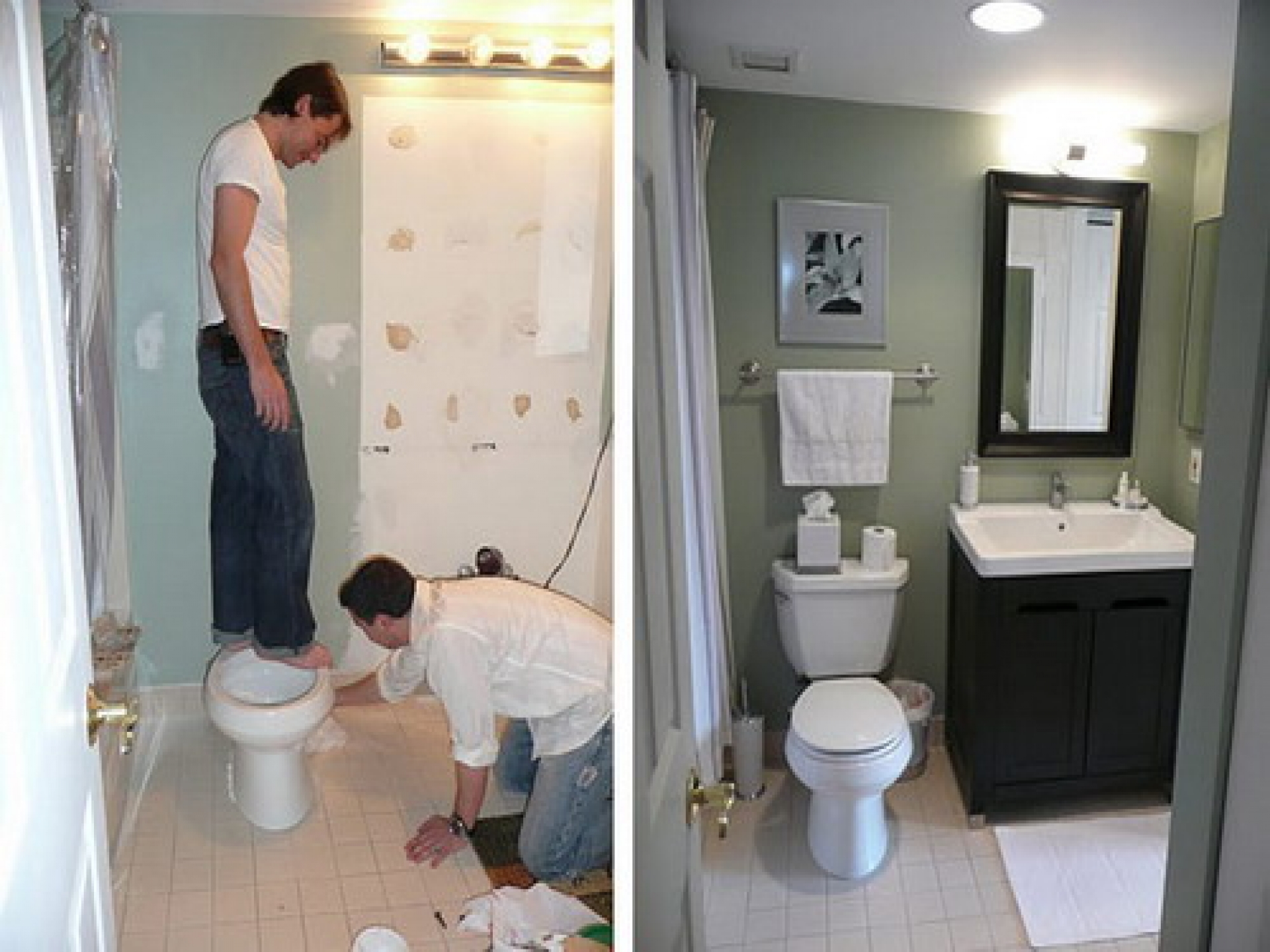 Small bathroom remodels before and after photo 9 for Bathroom remodels for small bathrooms