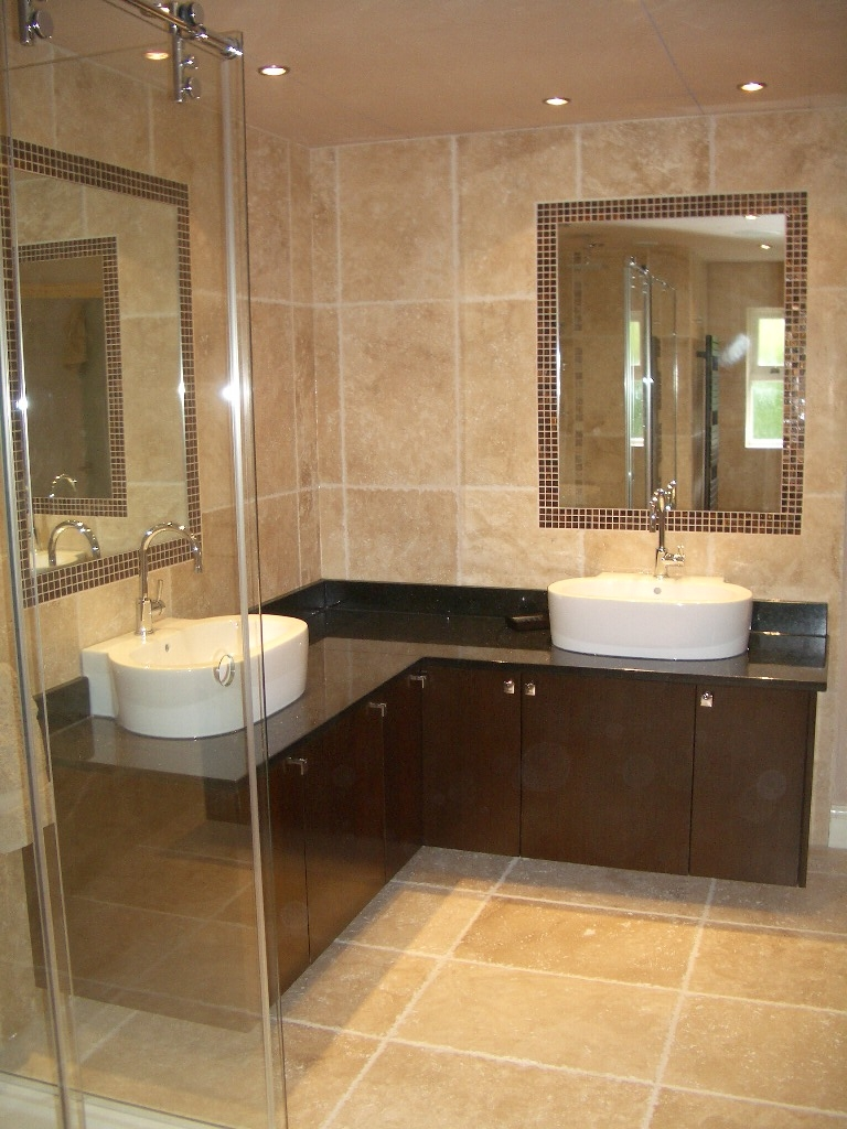 small bathroom with shower - Brown Bathroom Designs