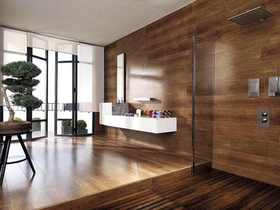 Wood floor for bathroom