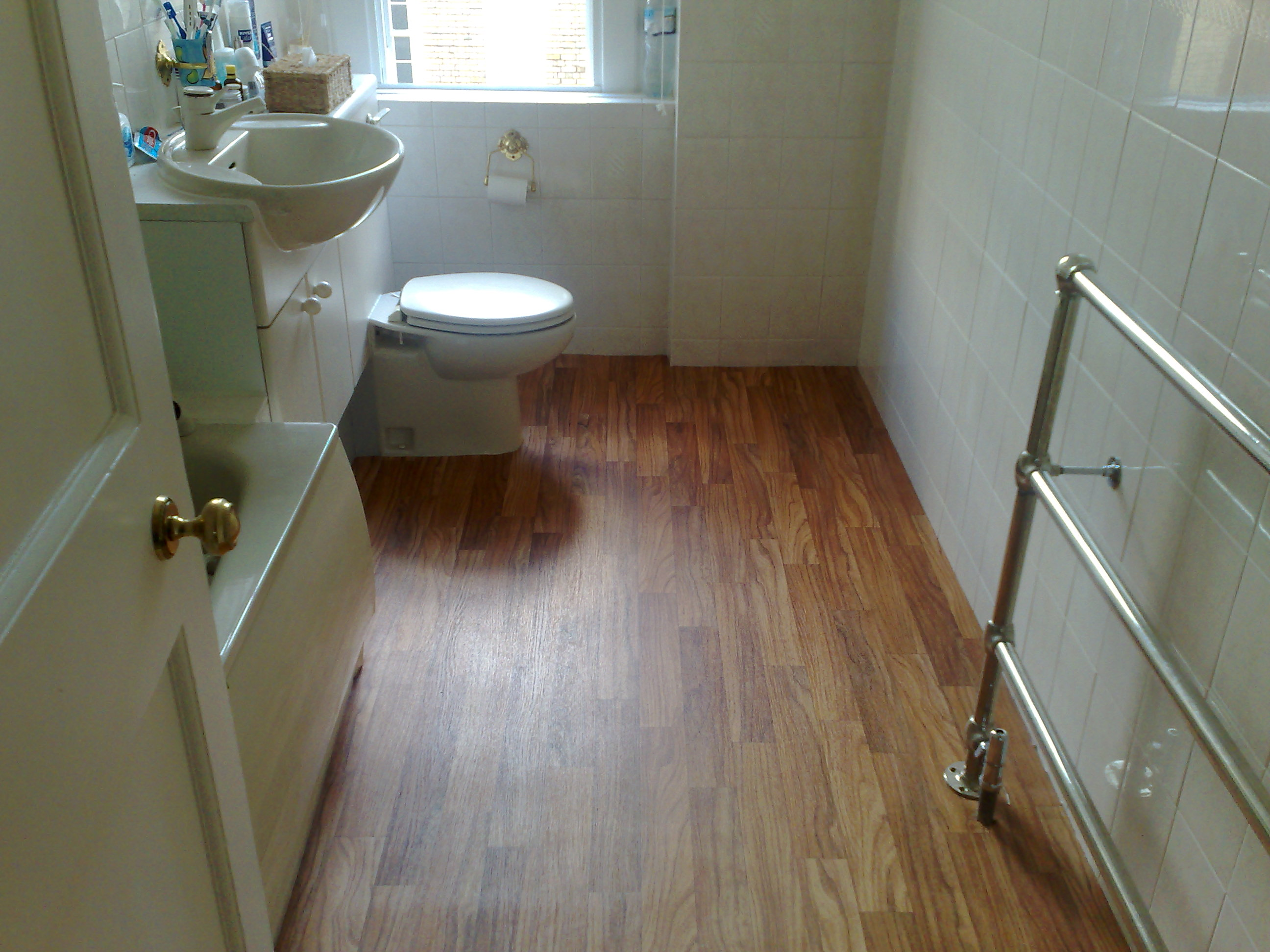 Wood floors in bathroom Wood tile bathroom
