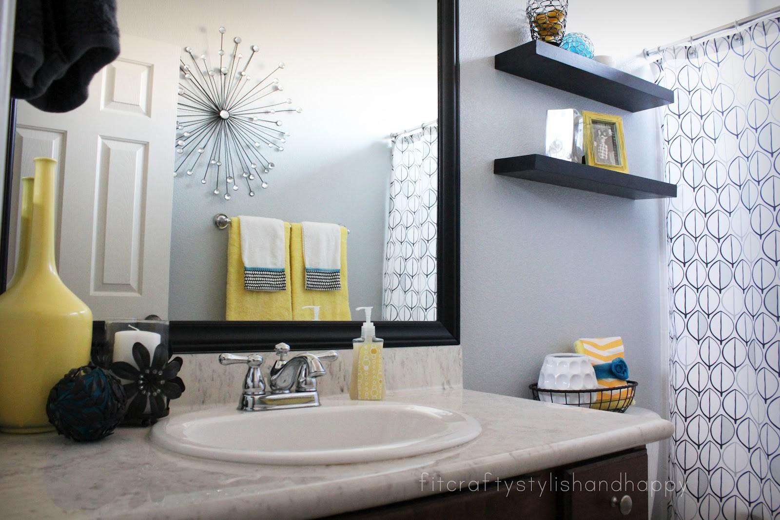 Yellow and grey bathroom