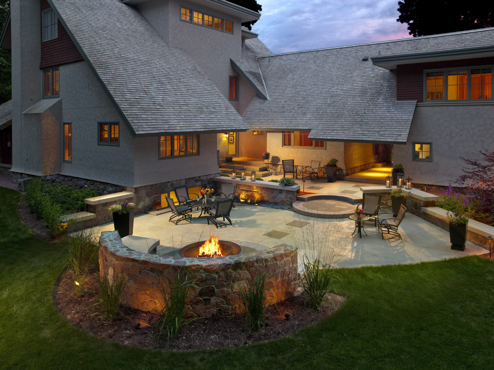 Backyard design ideas with fire pit photo 5 design for Craftsman landscape design ideas