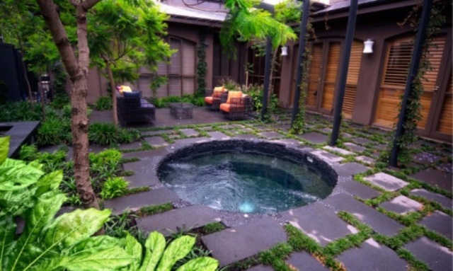 Backyard hot tub designs