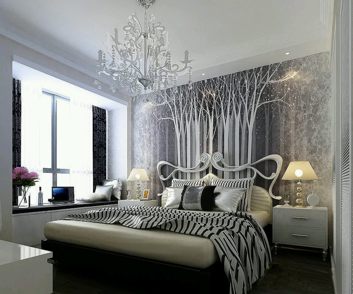 Beautiful white bedrooms Photo - 1
