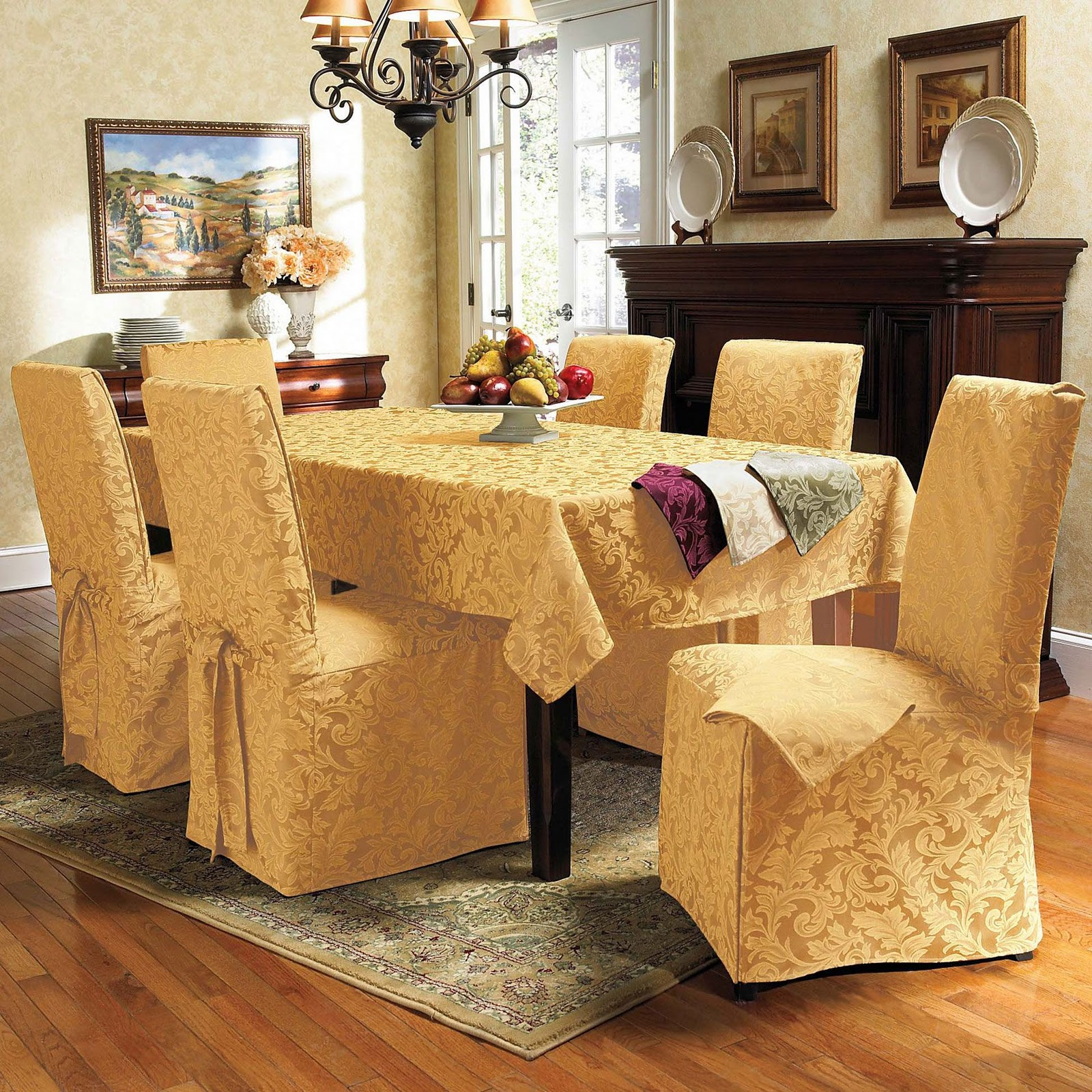 Dining room table chair covers photo 1 design your home for Dining room chair covers
