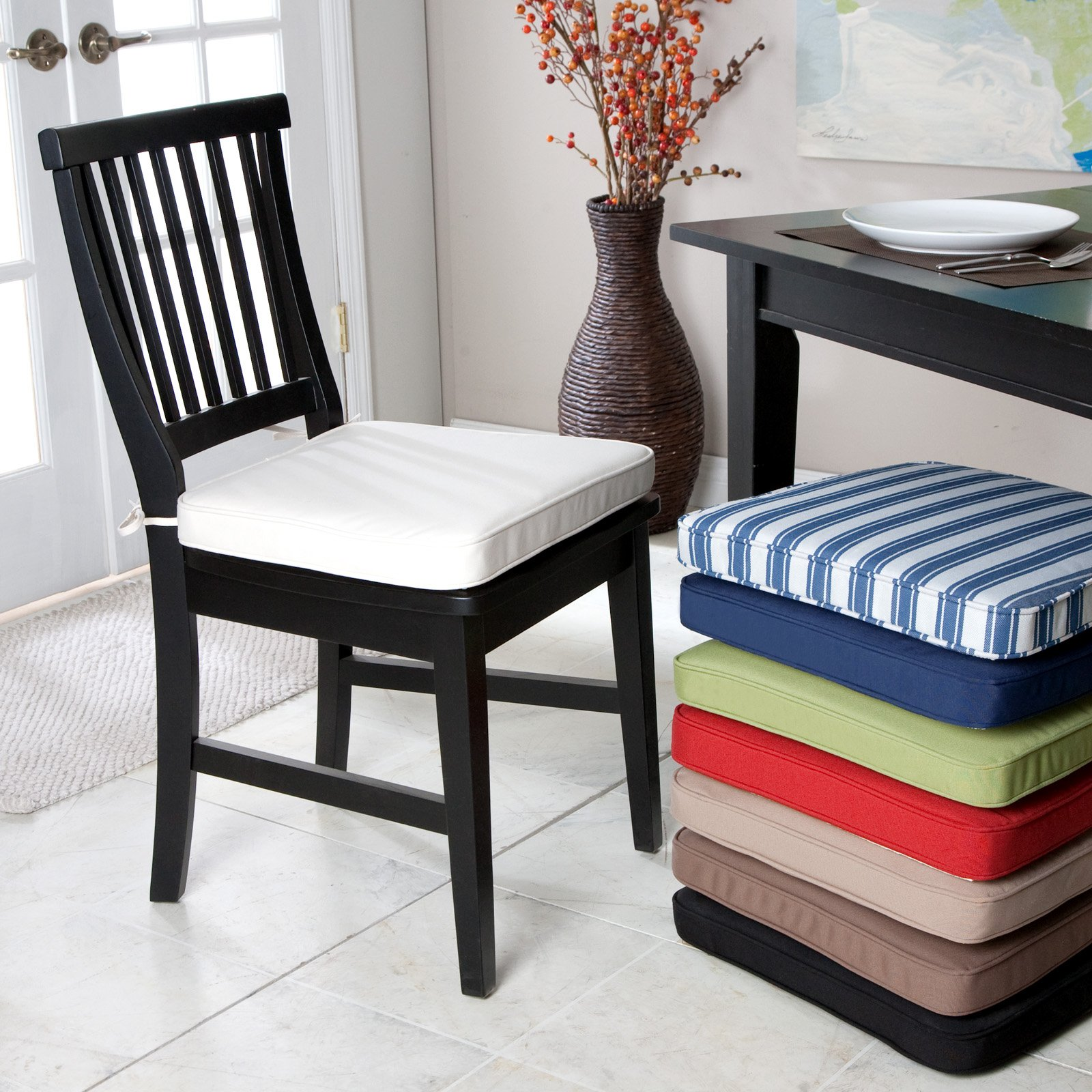 Seat cushions dining room chairs large and beautiful for Dining room chair cushions
