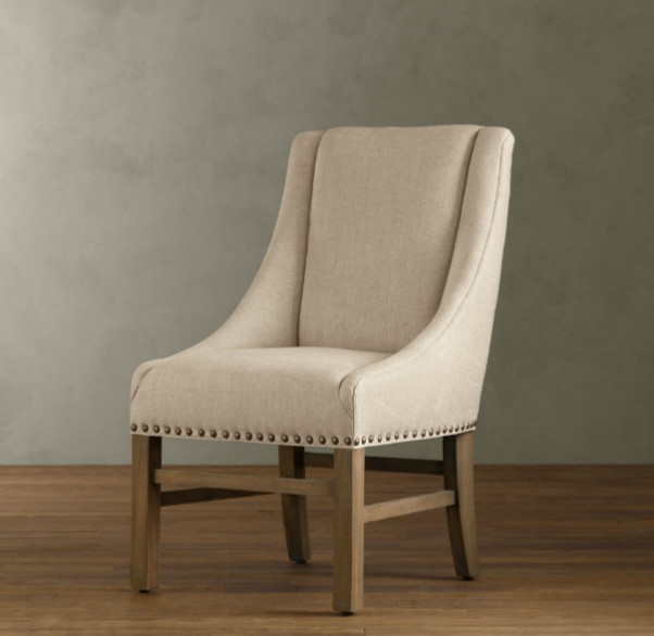 Upholstered nailhead dining chairs Photo - 1