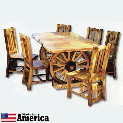 Wagon wheel dining table Photo - 1