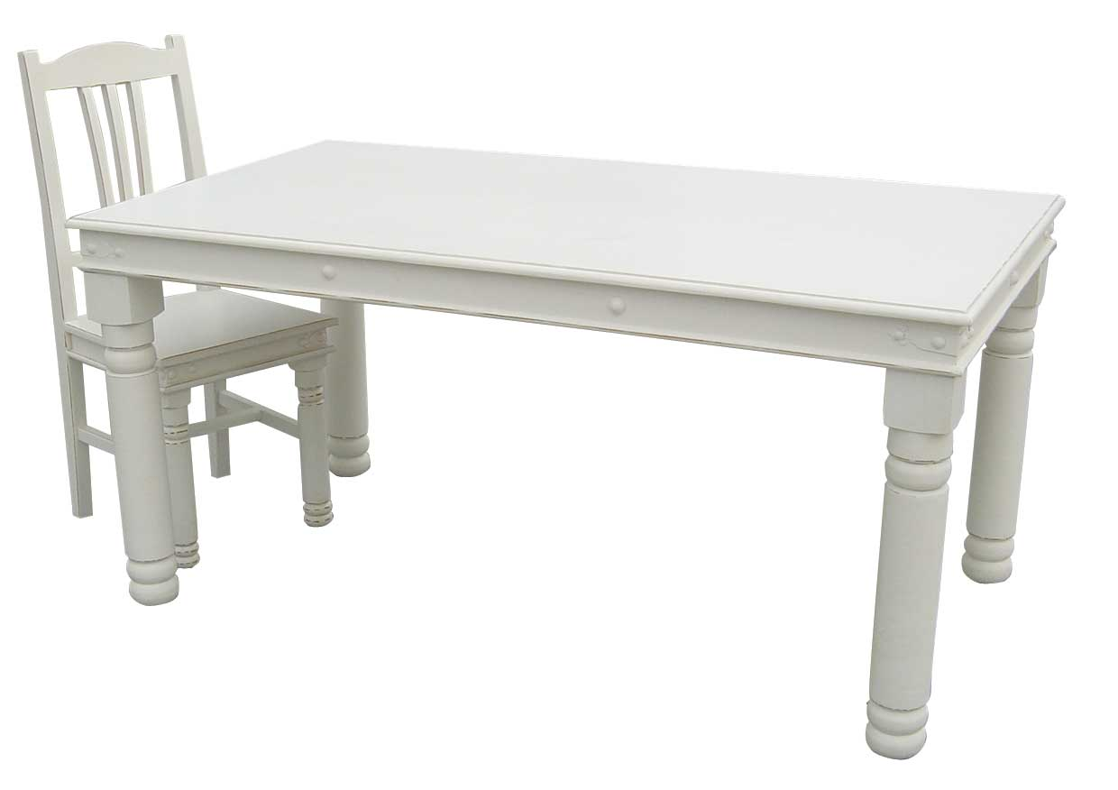 White painted dining table Photo - 1