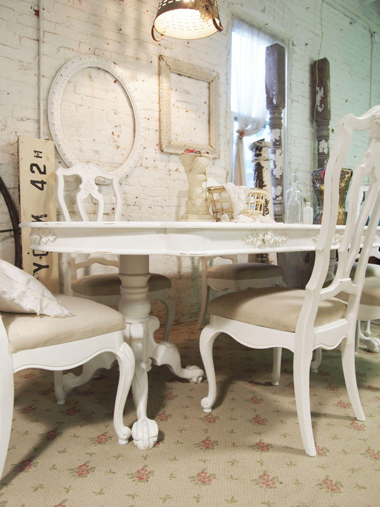 White shabby chic dining table large and beautiful for White dining room table