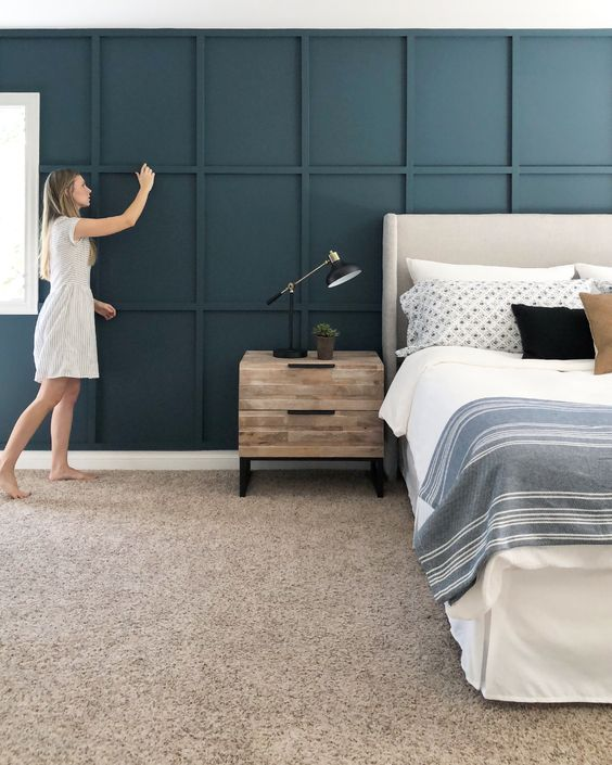 wainscoting accent wall bedroom photo - 1