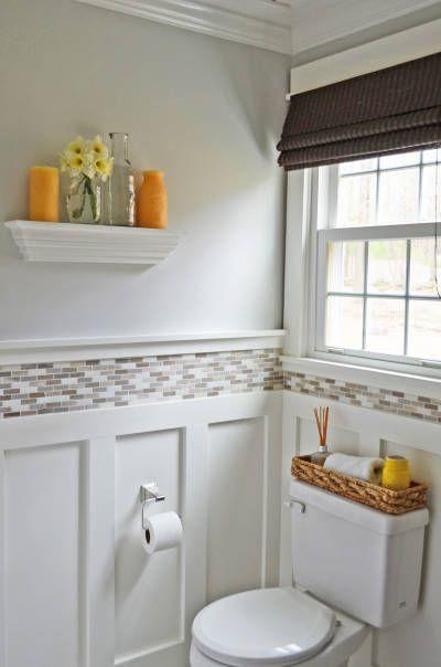 wainscoting small bathroom photo - 1