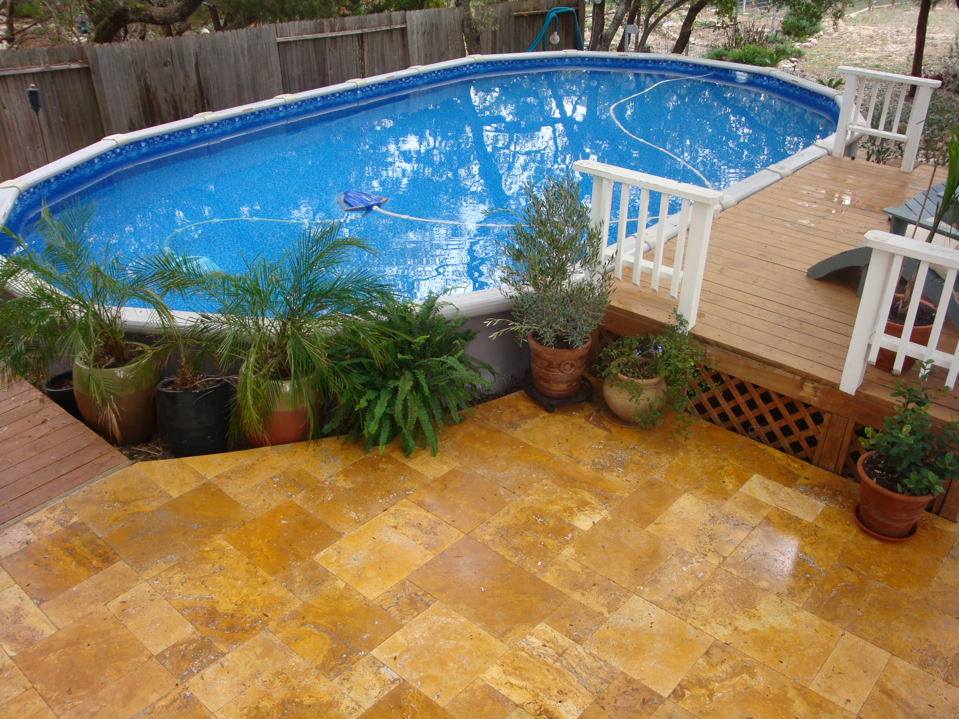 Backyard above ground pool ideas large and beautiful Above ground pool patio ideas