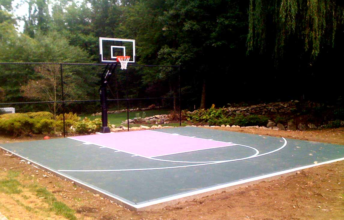 Backyard basketball court ideas large and beautiful for How big is a basketball court