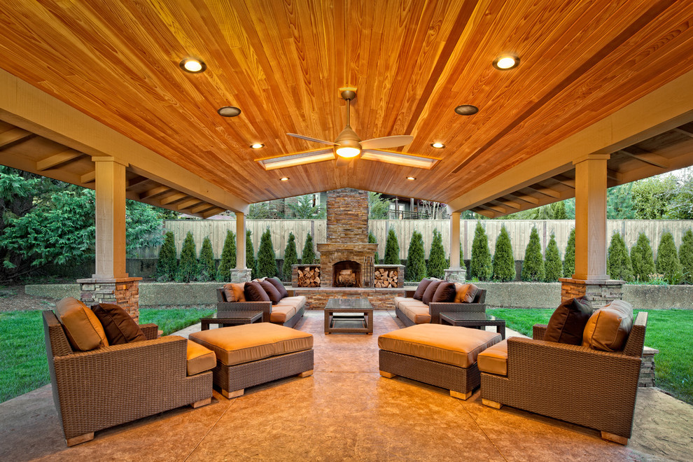 Backyard covered patio ideas large and beautiful photos for Back to back indoor outdoor fireplace