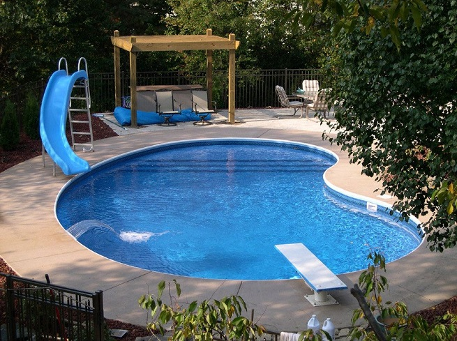 Backyard inground pool designs large and beautiful for Gunite pool design ideas