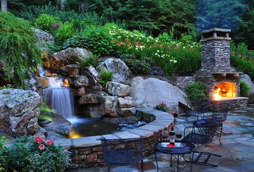 backyard pond ideas with waterfall photo - 1
