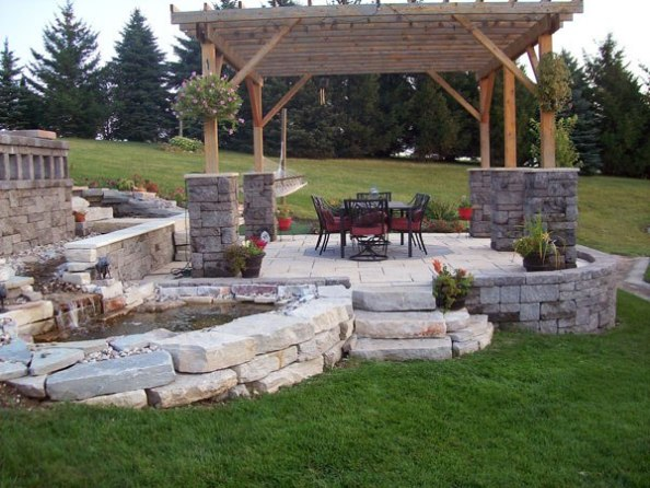 Backyard stone patio ideas large and beautiful photos for Small stone patio ideas