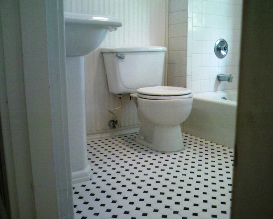 bathroom floor tile installation photo - 1