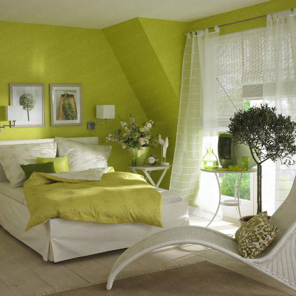 bedroom with green walls photo - 1