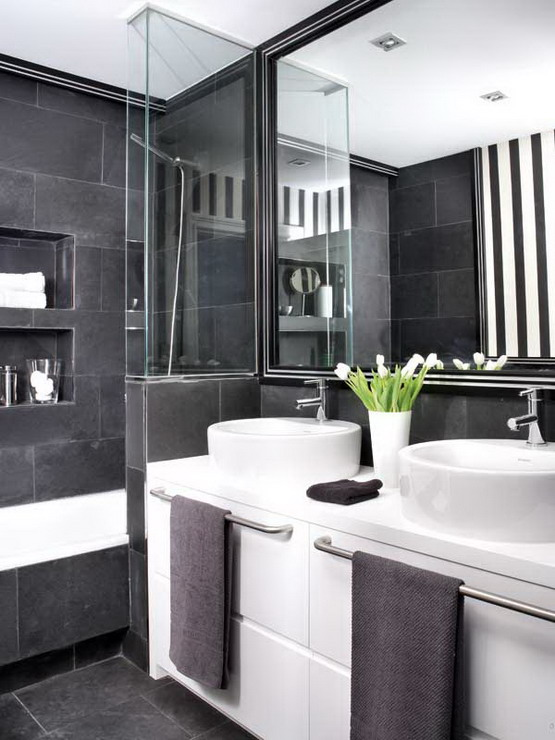 Merveilleux Black And White Bathroom Decorating Ideas