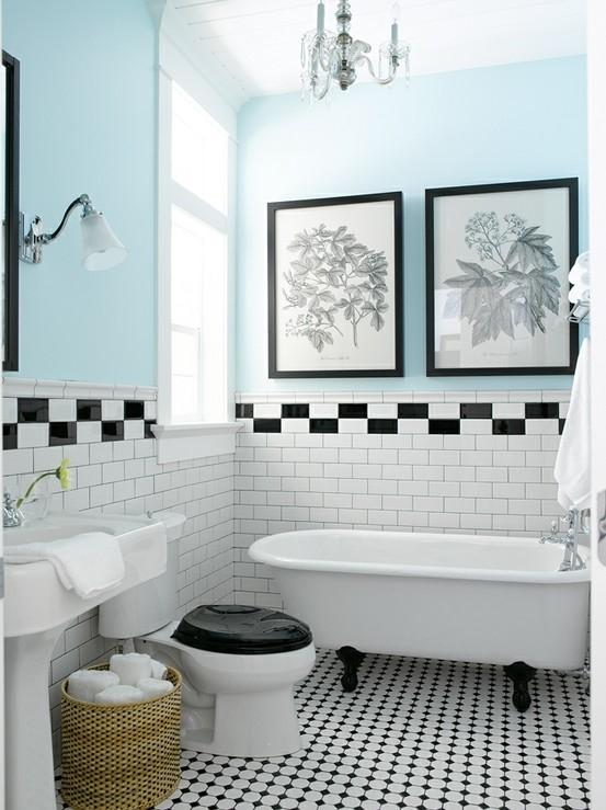 black and white bathroom floor tile photo - 1