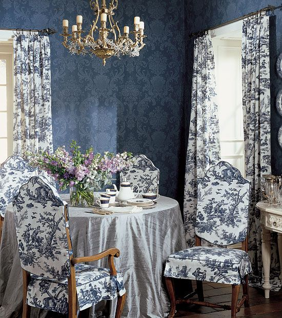 blue and white dining room photo - 2