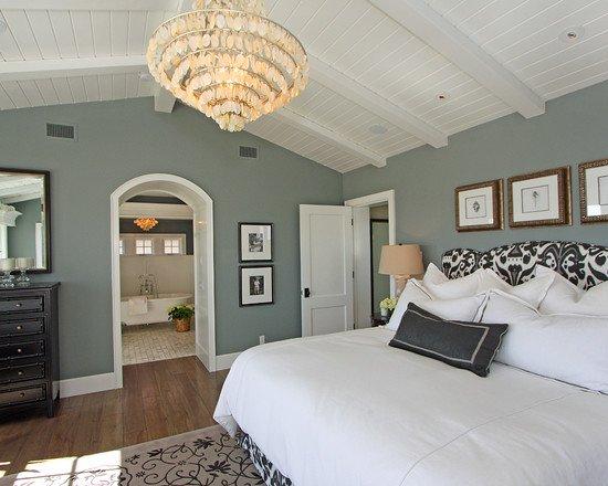 blue grey paint color bedroom photo - 2