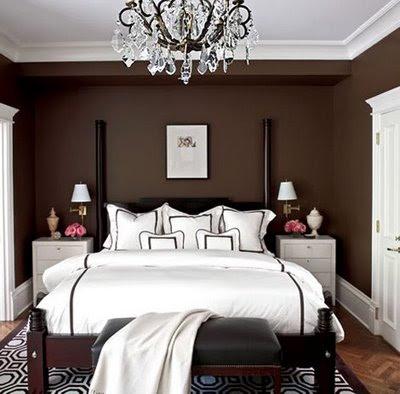 brown walls in bedroom photo - 2