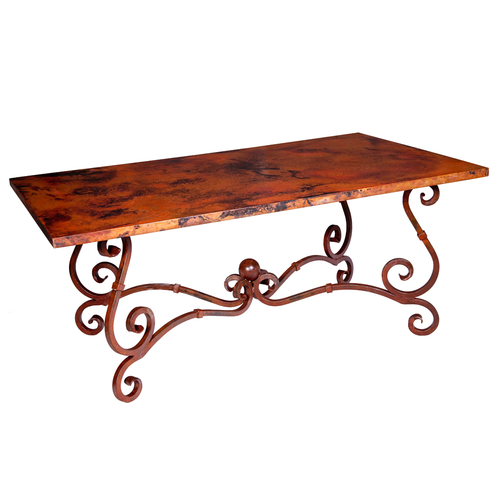 copper top dining table photo - 2