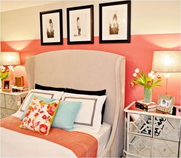 Coral bedroom walls