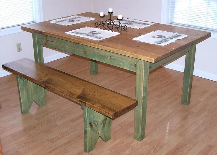 farm dining table with bench photo - 1