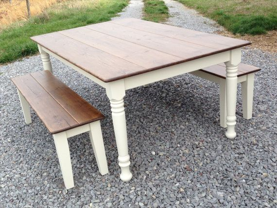 farm dining table with bench photo - 2
