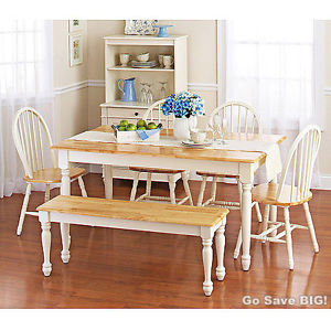 farmhouse dining set with bench photo - 1