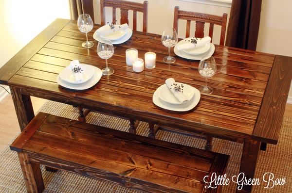 farmhouse dining set with bench photo - 2