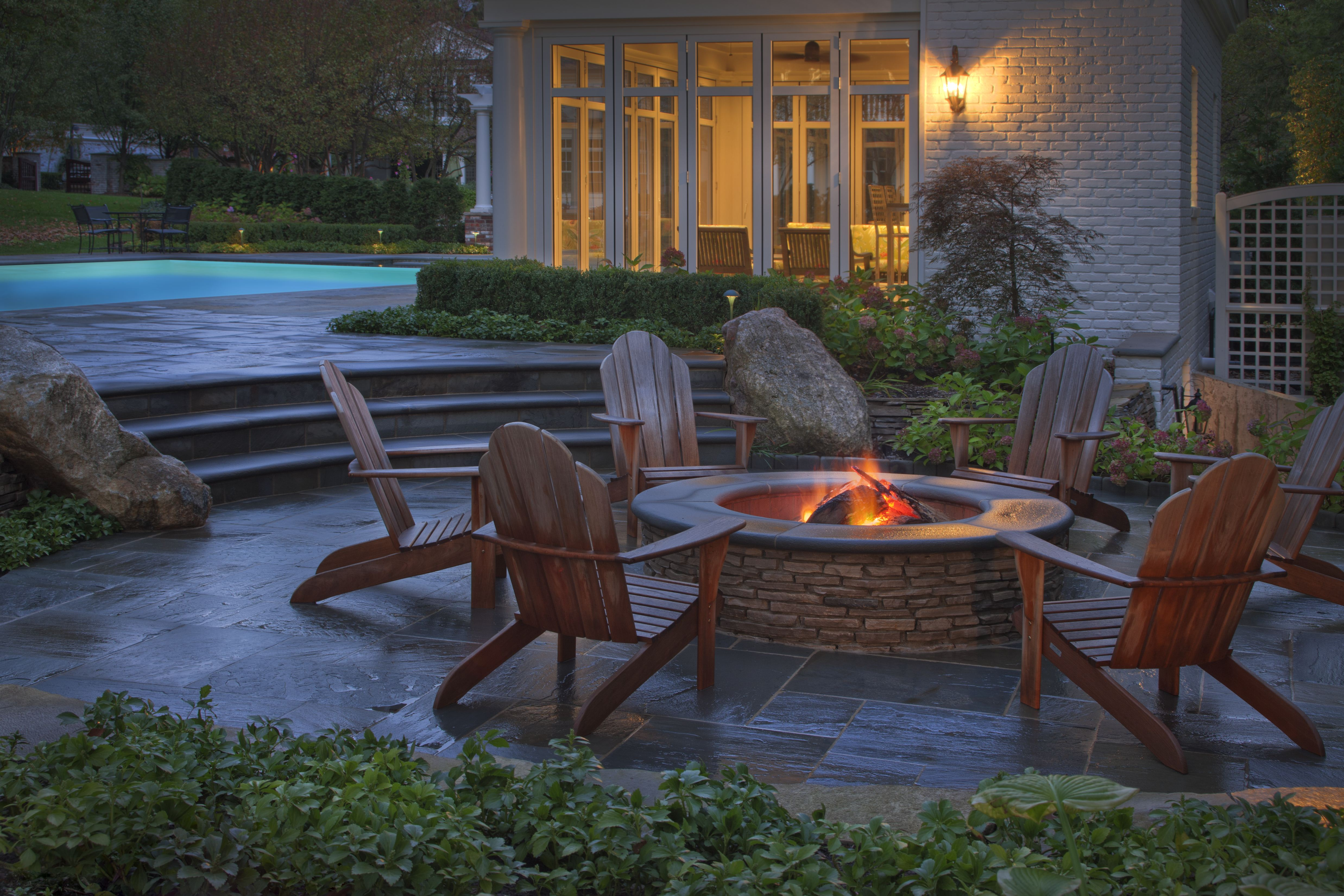 homeowner interior brick patio designs with fire pit | hampedia ...
