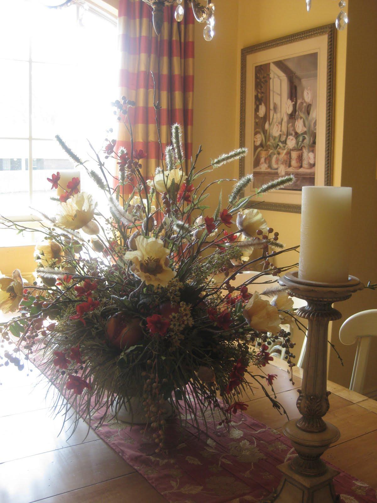 Dining room floral arrangements
