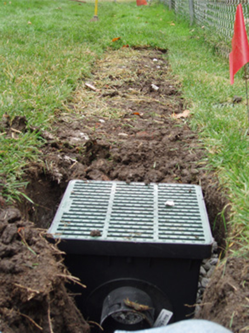 french drain backyard photo - 2
