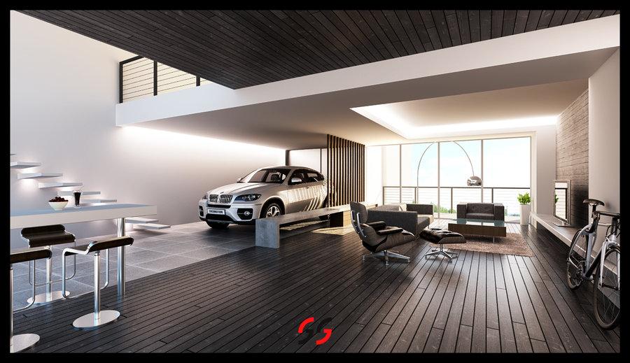 garage living room photo - 2