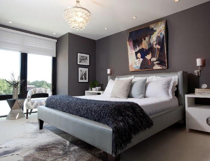 gray walls bedroom photo - 2